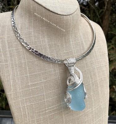 Big Beautiful Baby Blue Sea Glass Necklace