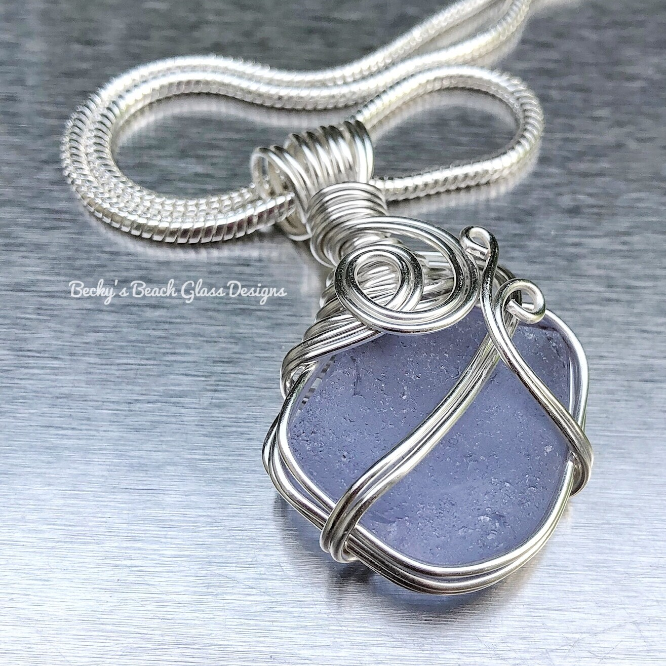 Purple Neodymium Sea Glass Necklace