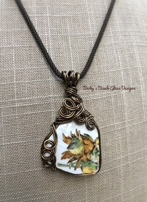 English Floral Sea Pottery Necklace