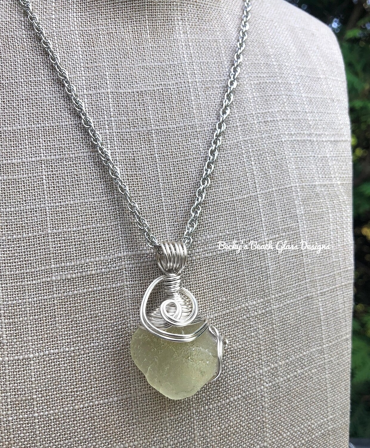 Small Yellow Sea Glass Necklace