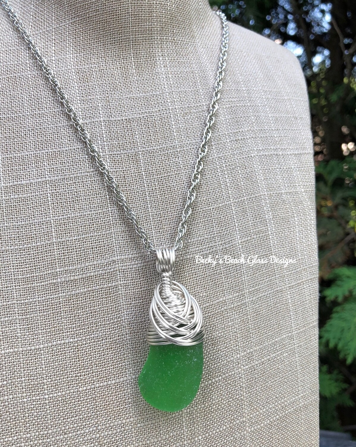 Flawless Kelly Green Sea Glass Necklace
