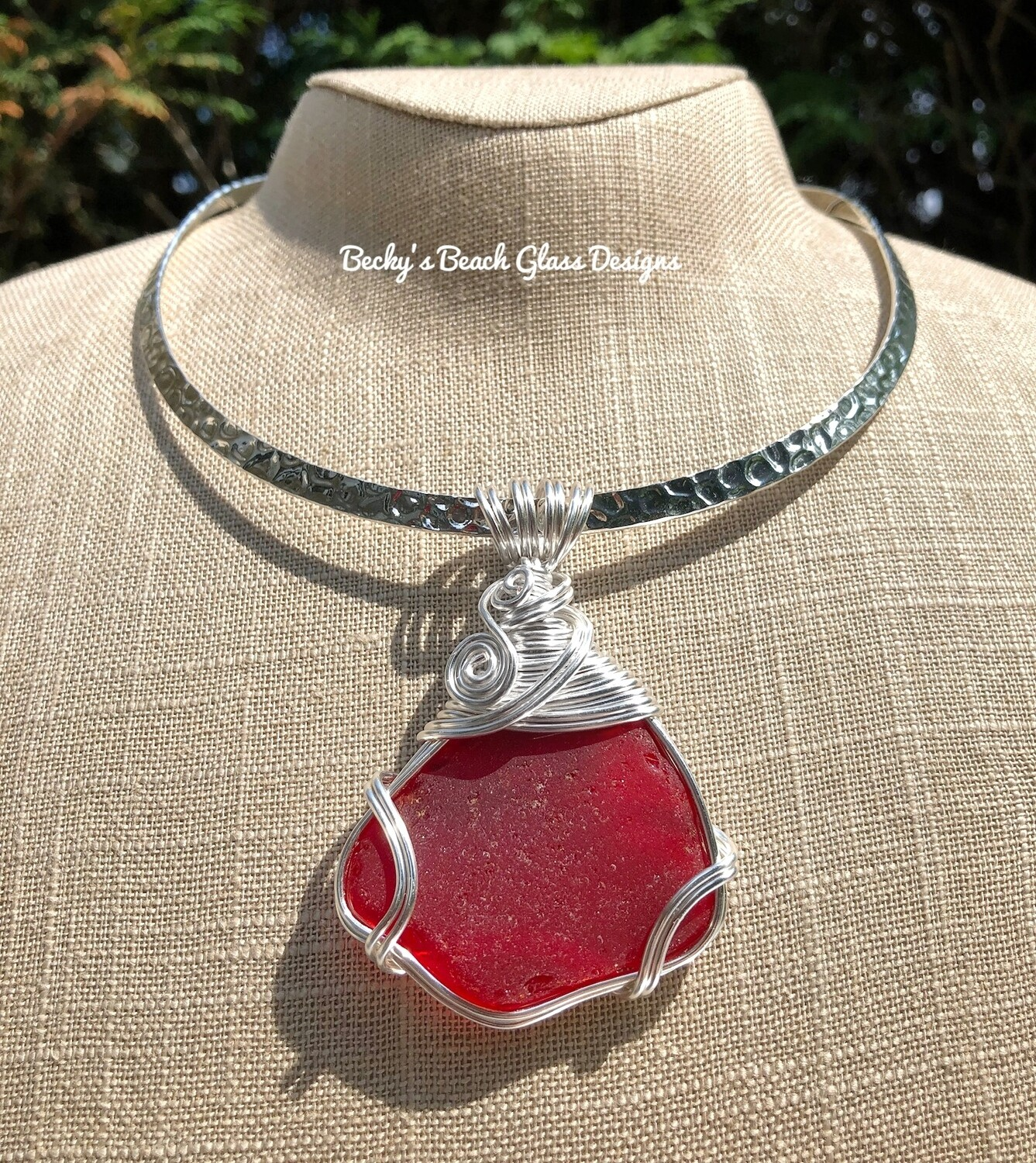 Beautiful Rare Red Sea Glass Pendant Necklace