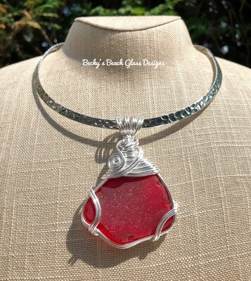 Beautiful Rare Red Sea Glass Pendant Necklace