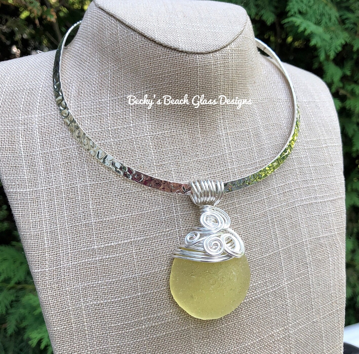 Chunky Yellow High Dome Sea Glass Pendant Necklace