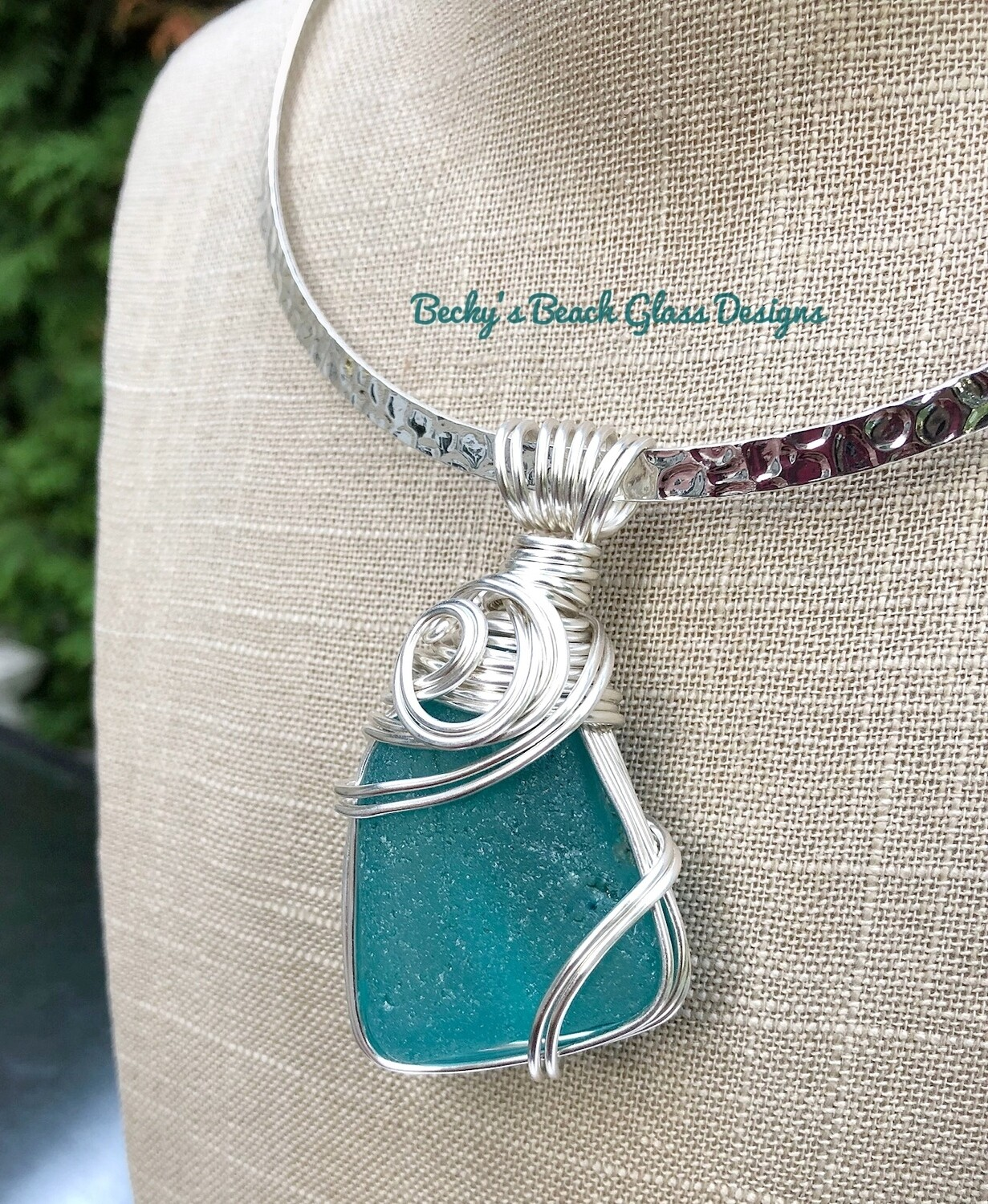 Deep Turquoise Blue Mega Chunk Sea Glass Pendant Necklace