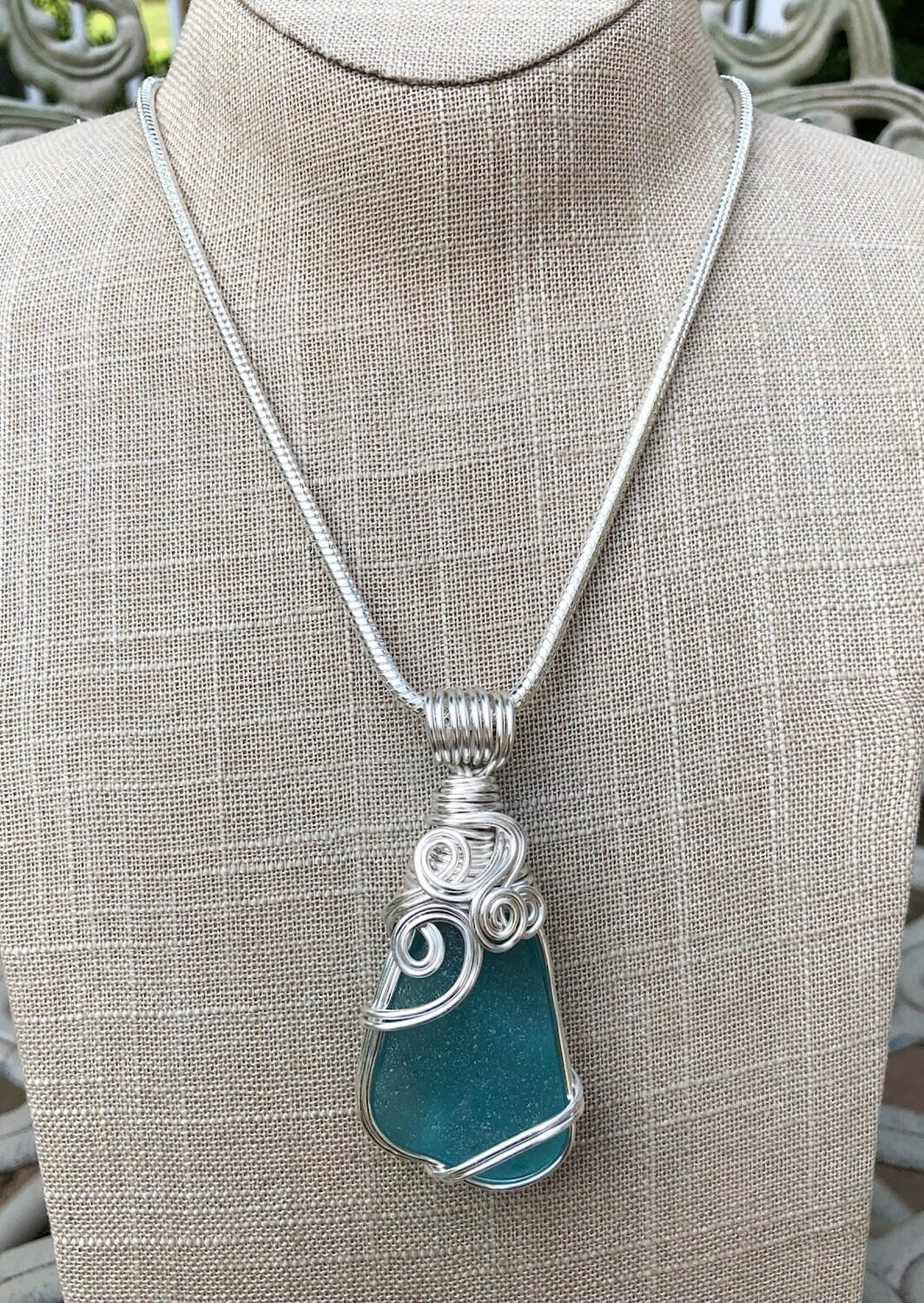 Brilliant Turquoise Sea Glass Pendant Necklace