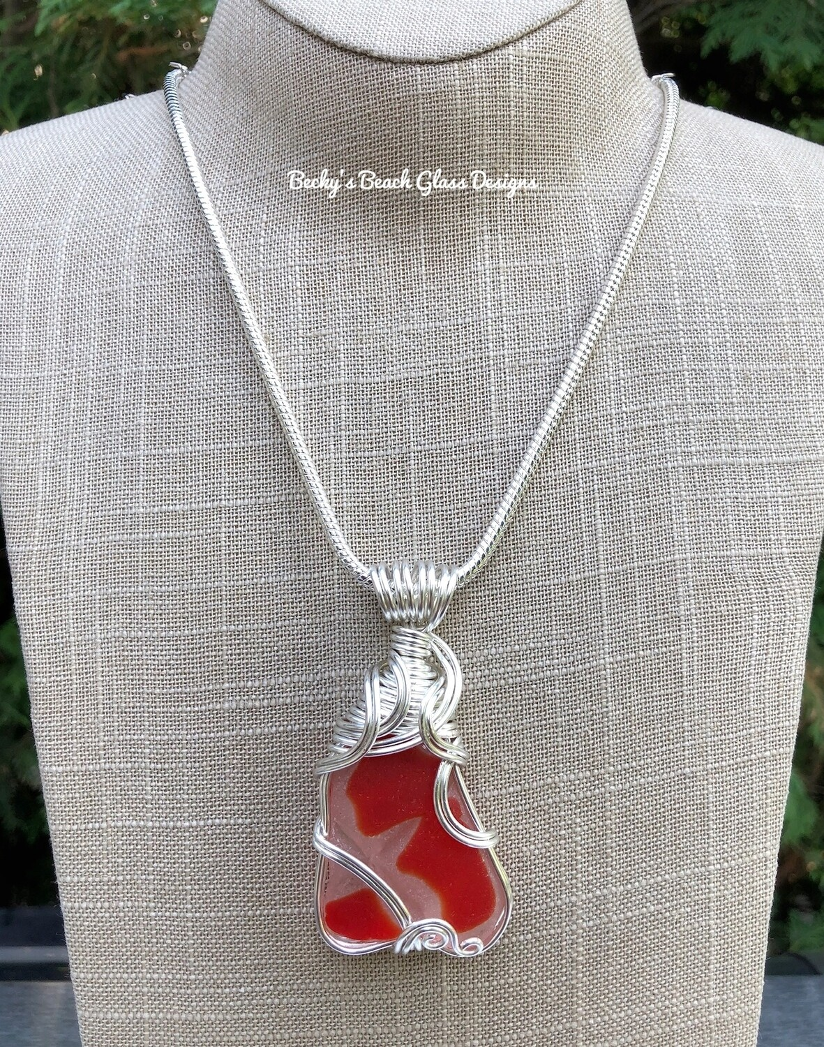 Russian Red and White Sea Glass Necklace