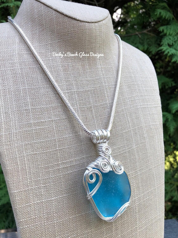Russian Bright Blue Sea Glass Necklace