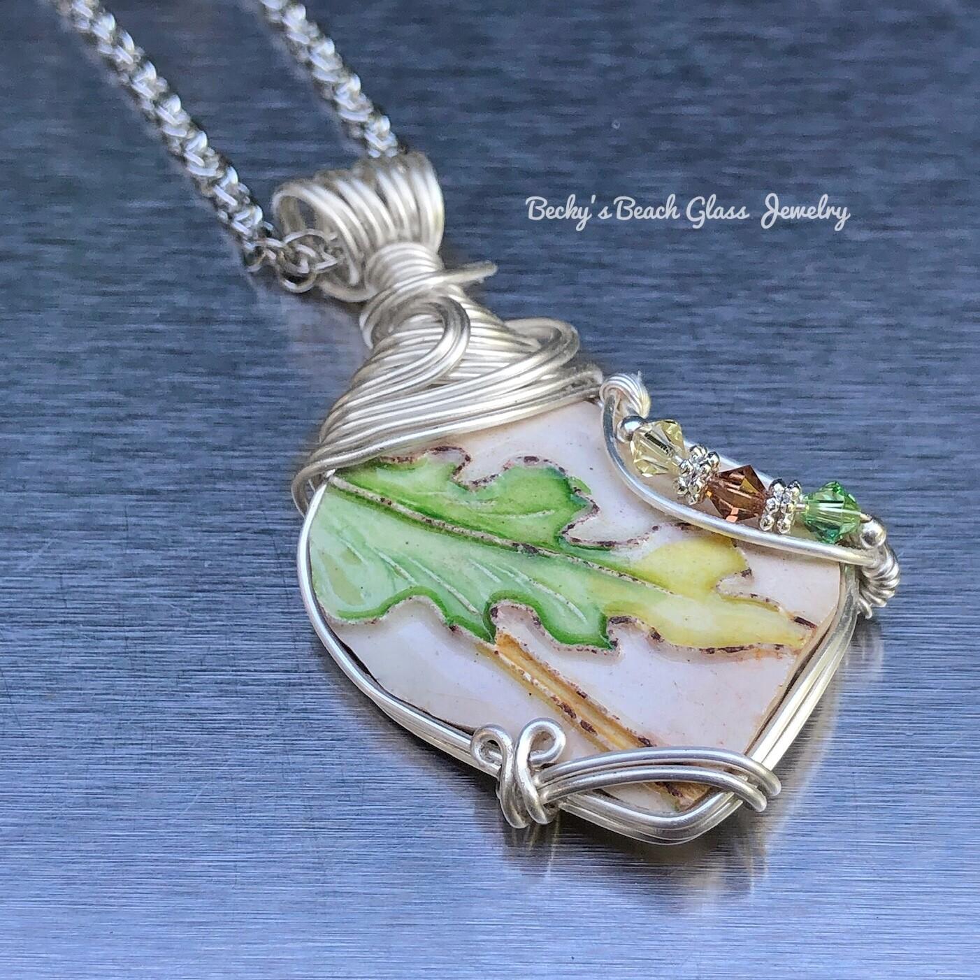 English Leafy Sea Pottery Necklace