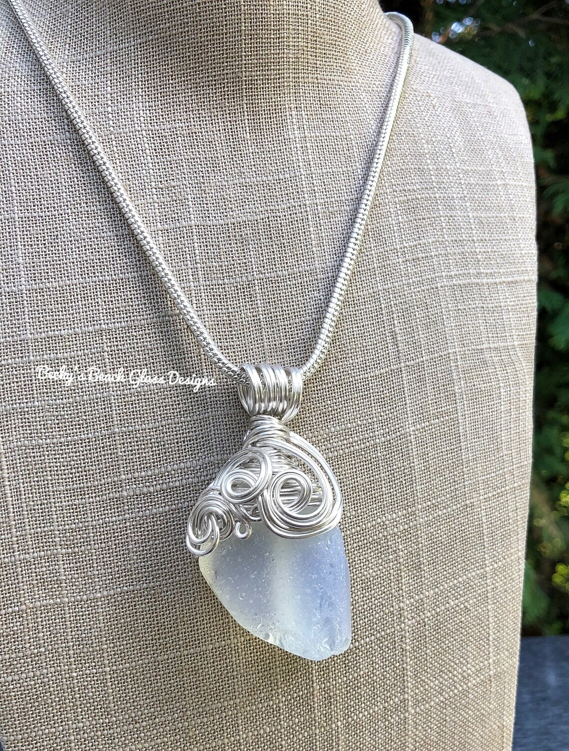 RARE Opalescent Sea Glass Pendant Necklace