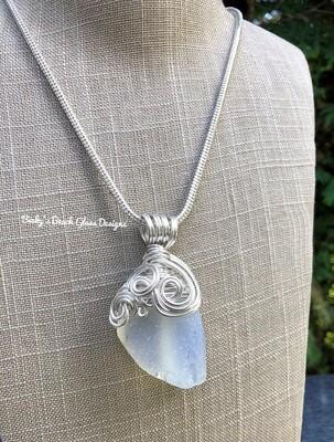RARE Opalescent Sea Glass Pendant Necklace