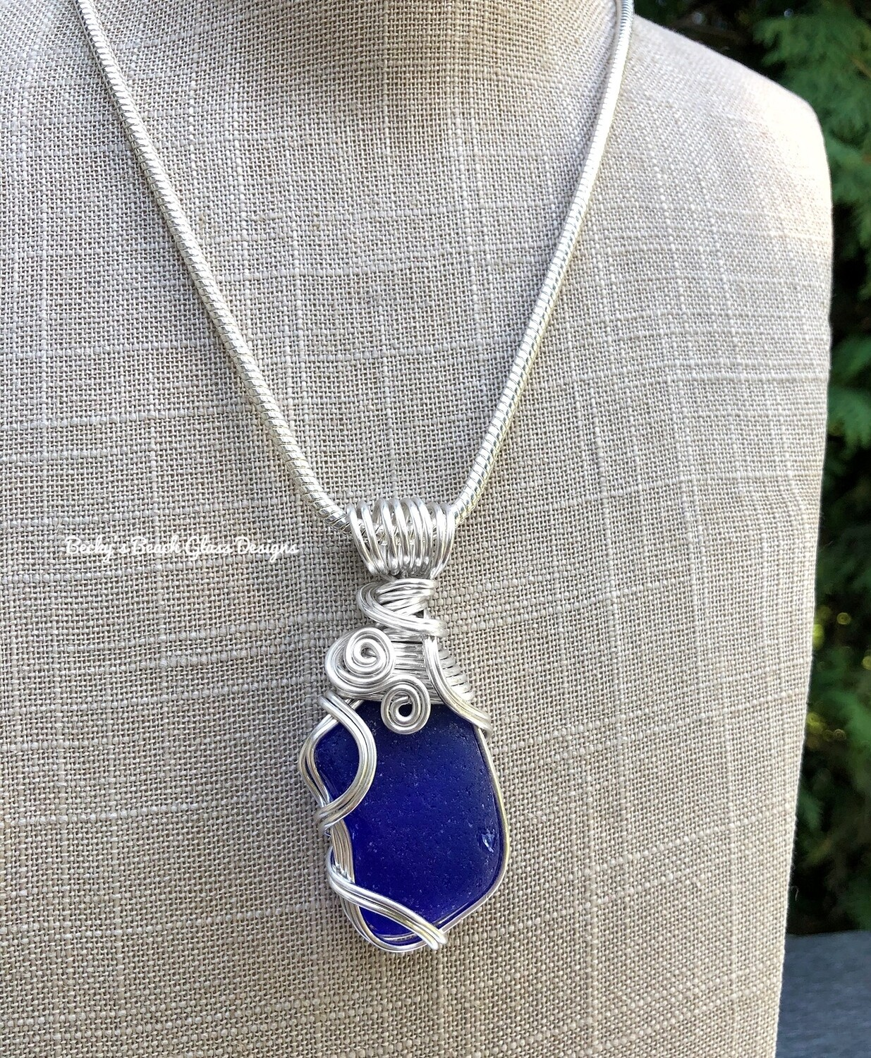 Large Cobalt Blue Sea Glass Necklace