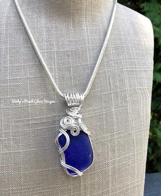 Large Cobalt Blue Sea Glass Necklace