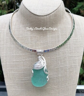 Flawless Sea Green Sea Glass Pendant Necklace