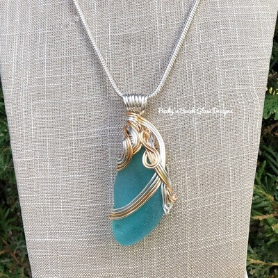 Bright Aqua Blue Sea Glass Necklace