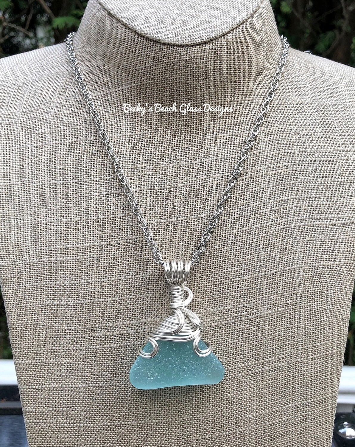 Light Aqua Sea Glass Necklace