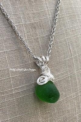 Green Gum Drop Sea Glass Necklace
