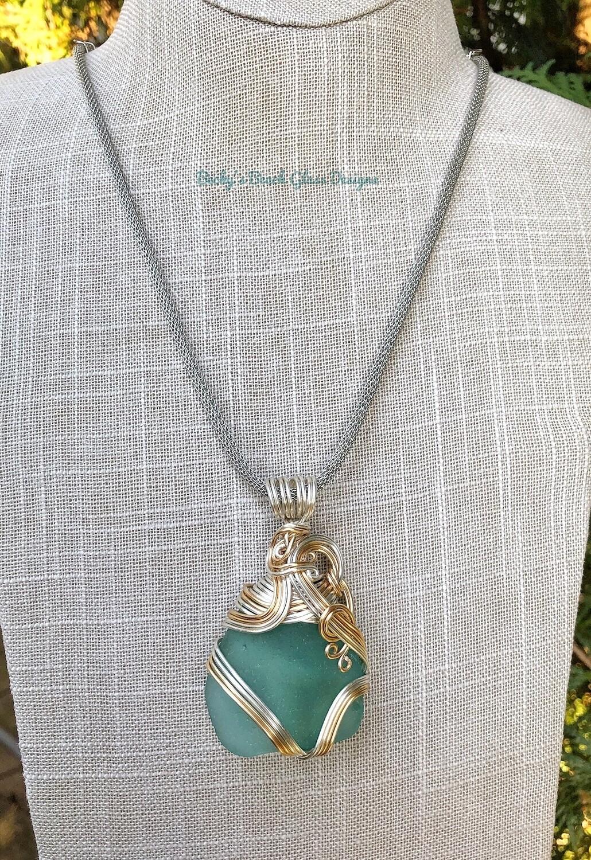 Aqua/Teal Mixed Metal Sea Glass Necklace