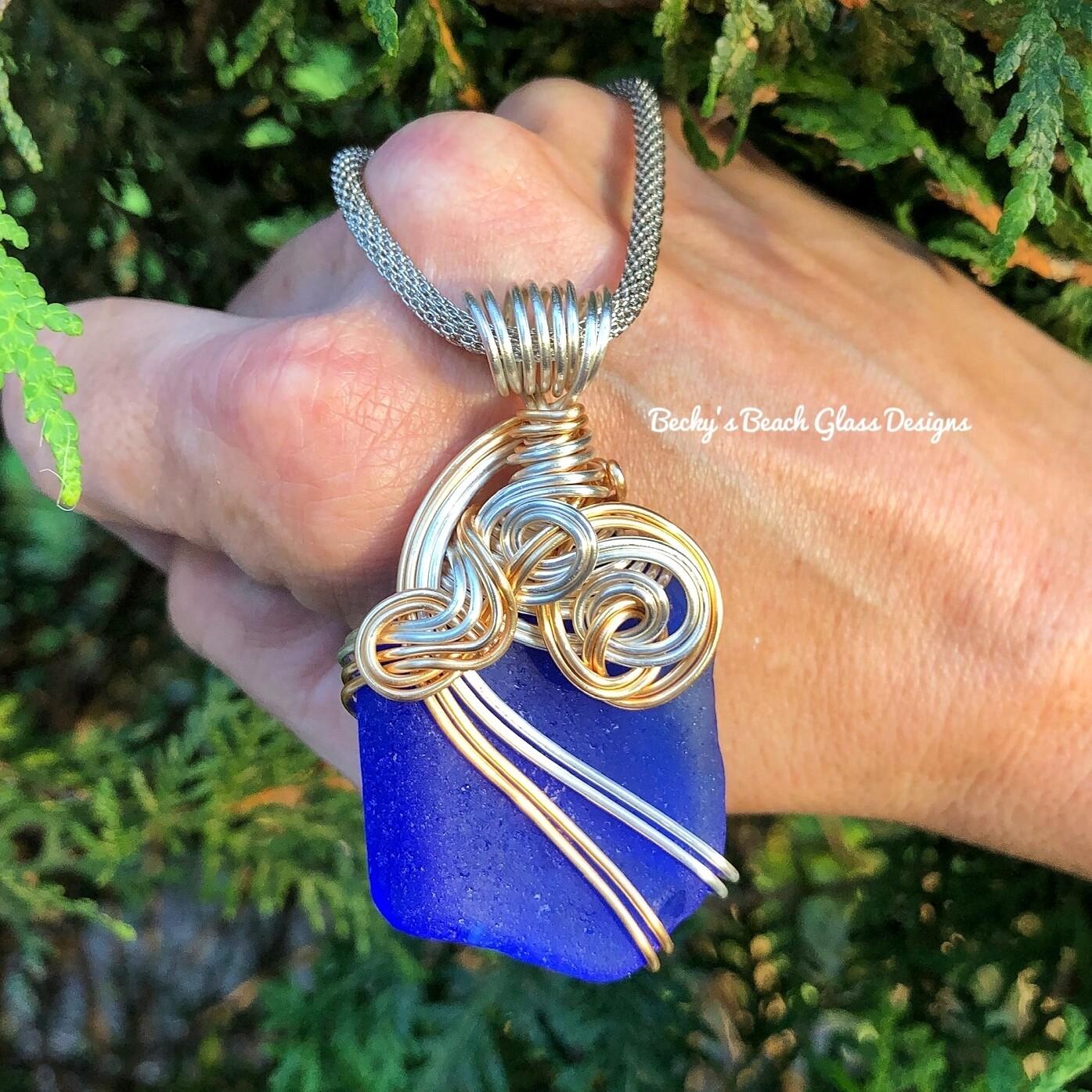 Cobalt Blue Mixed Metal Sea Glass Necklace