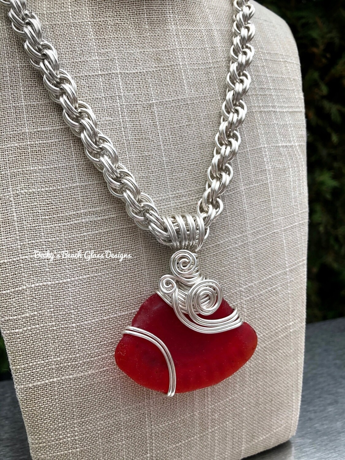 Colossal Red Sea Glass Necklace W/Handmade Chain