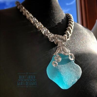 Bright Aqua Blue Sea Glass Necklace W/Handmade Chain
