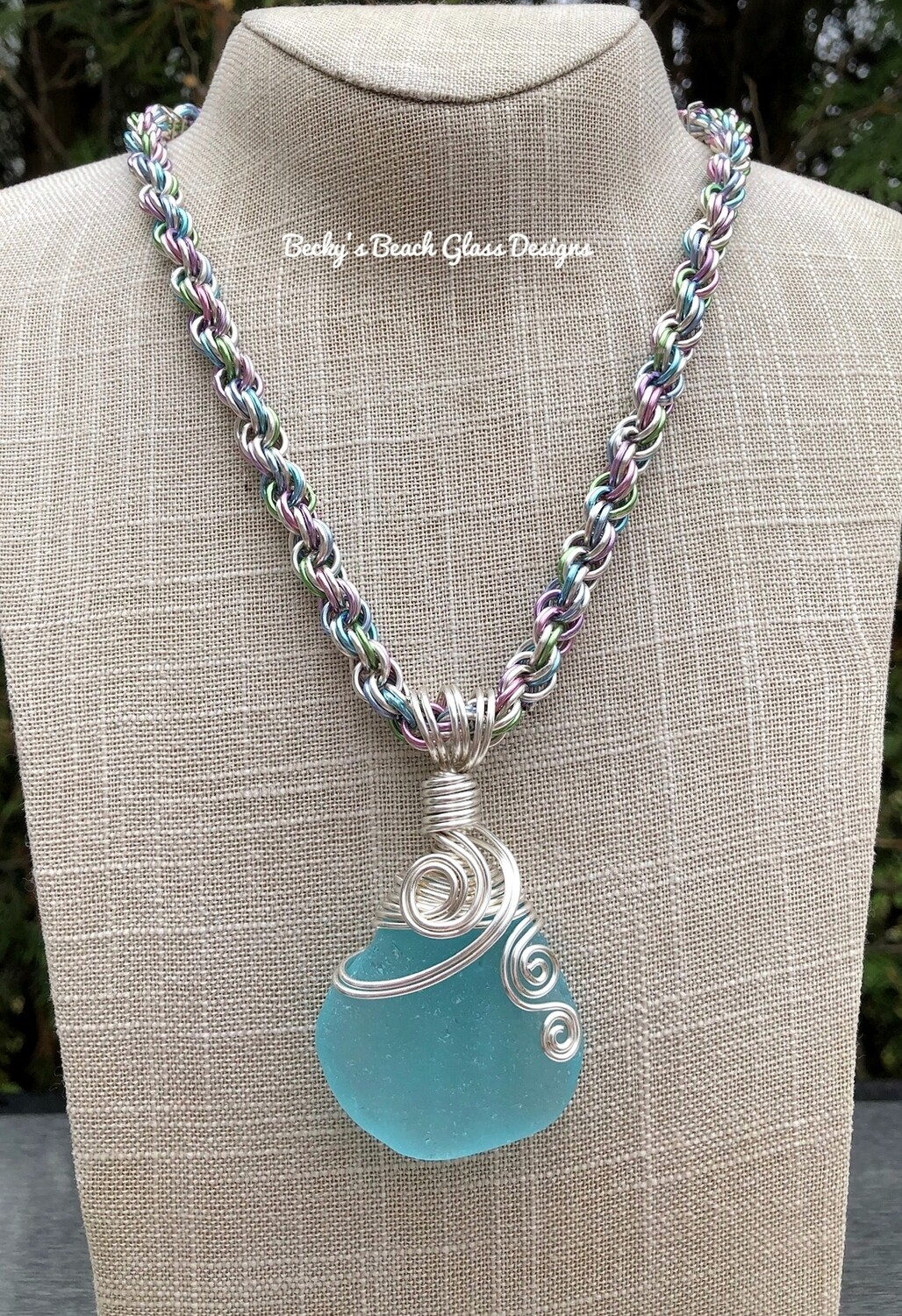 Amazing Aqua Blue Sea Glass Necklace W/Handmade Chain
