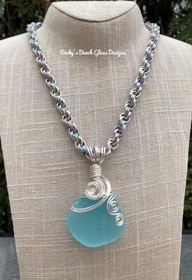Amazing Aqua Blue Sea Glass Necklace W/Handmade Chain