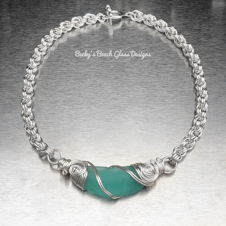 Luminous Aqua Sea Glass Necklace W/Handmade Chain