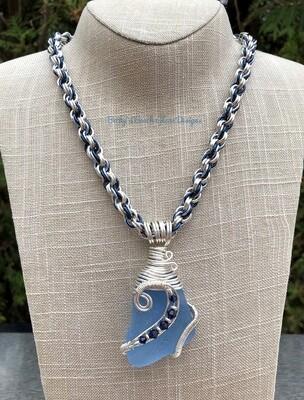 Sky Blue Sea Glass Necklace W/Handmade Chain