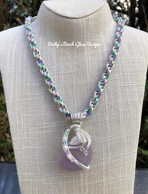 Magical Neodymium Sea Glass Necklace W/Handmade Chain