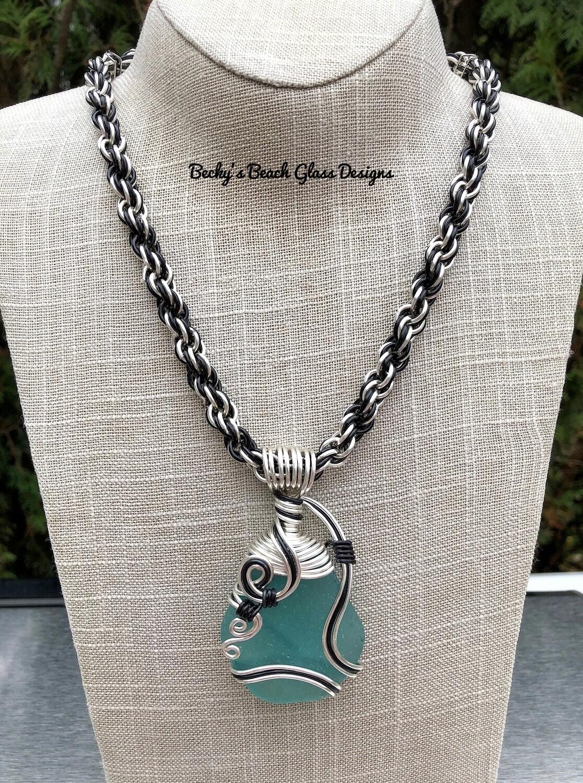 Eye Popping Aqua Sea Glass Necklace W/Handmade Chain