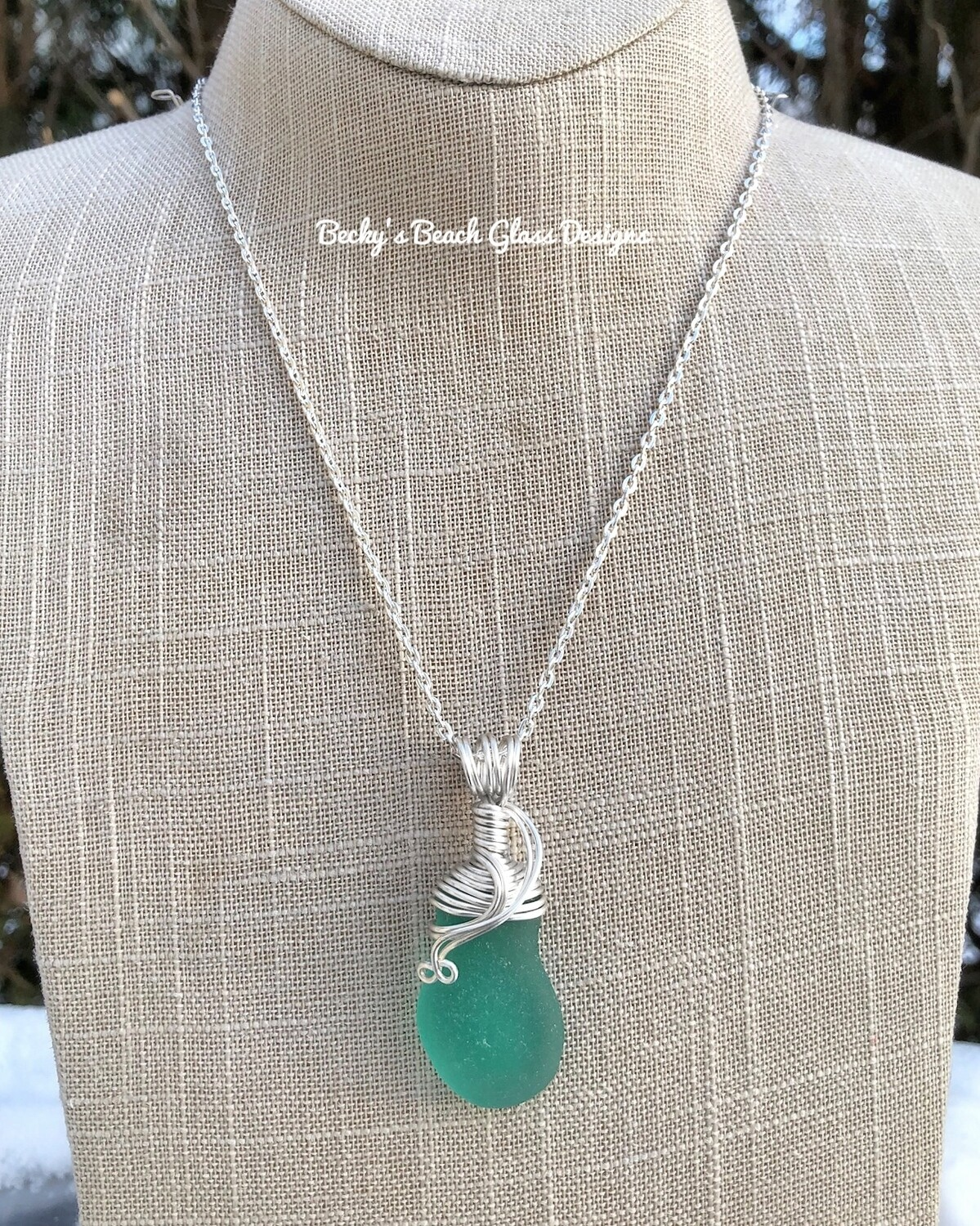 Bright Jade Sea Glass Necklace