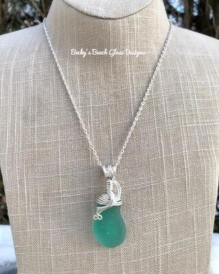 Bright Jade Sea Glass Necklace