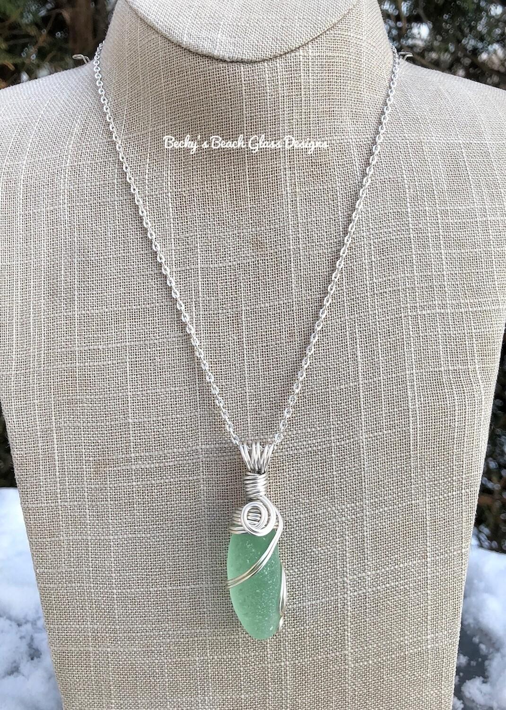 Minty Sea Glass Necklace