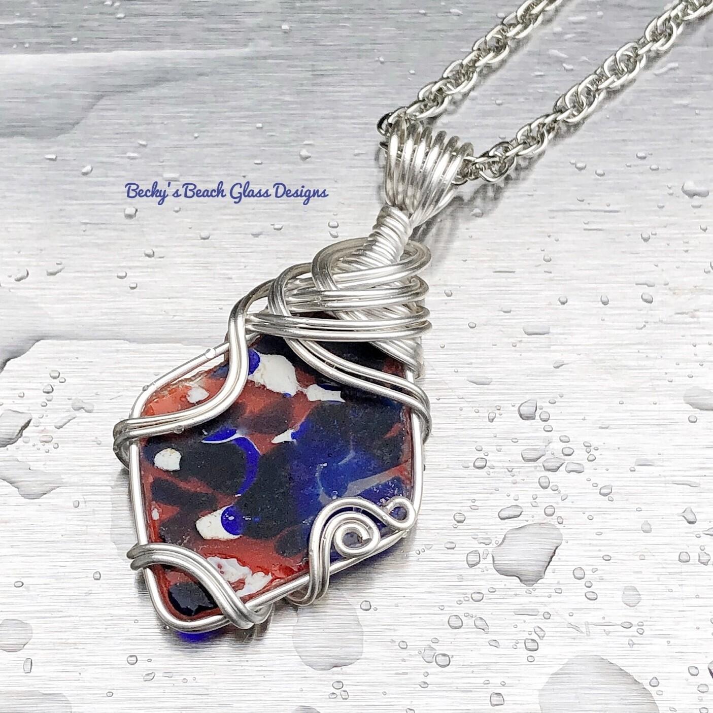 Multicolored English Splatter Glass/ Art Glass Necklace