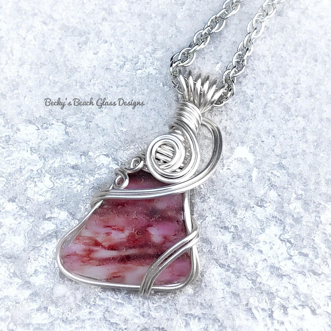 Pink Multi Colored Flash English Sea Glass Necklace