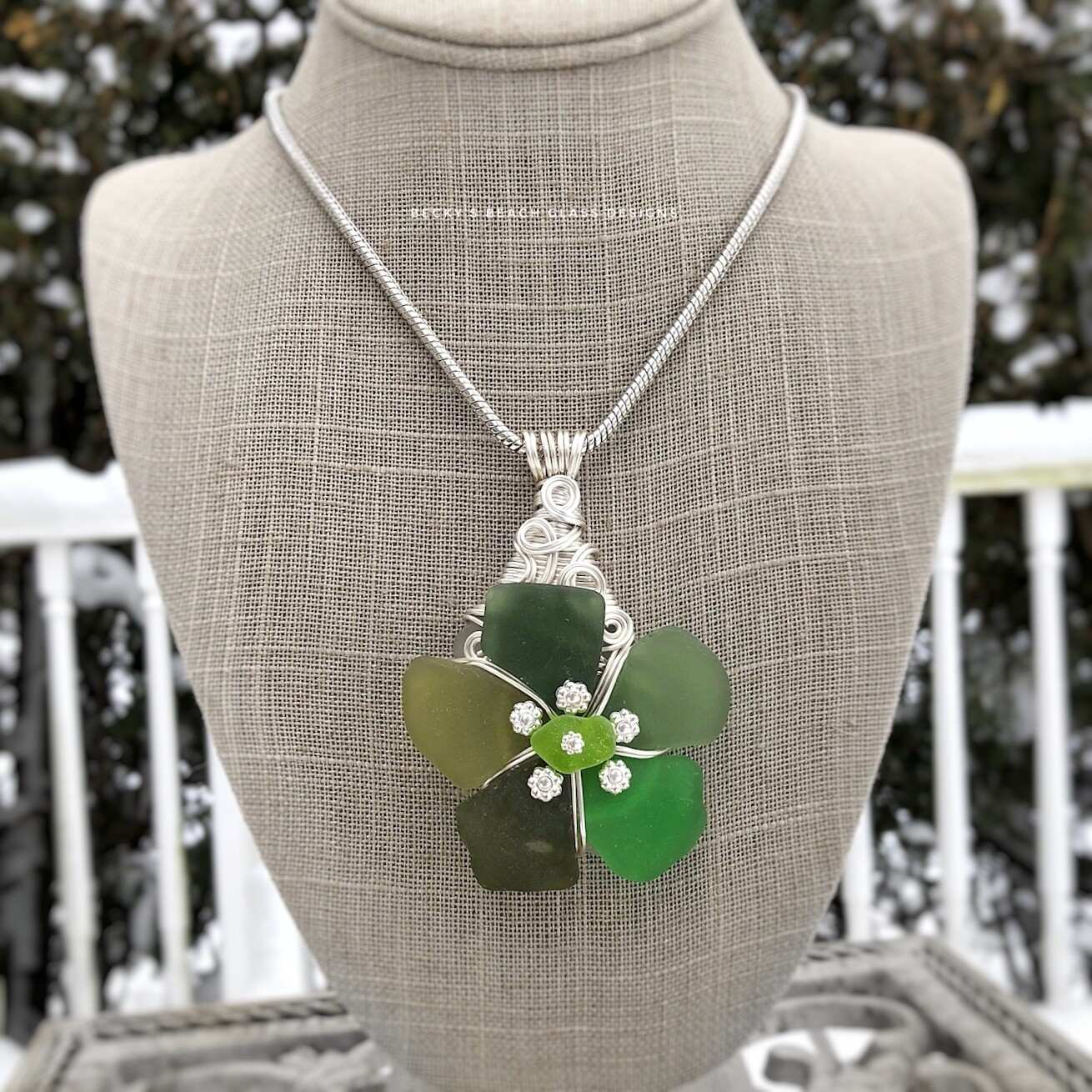 Multi-Greens Sea Glass Flower Pendant Necklace