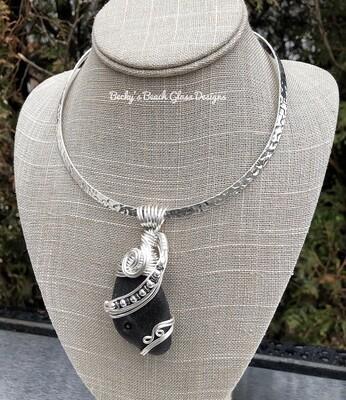Huge Jet Black Scotland Sea Glass Necklace
