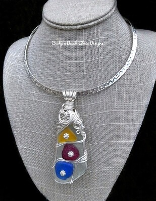 Mosaic Style Multi Color Sea Glass Necklace