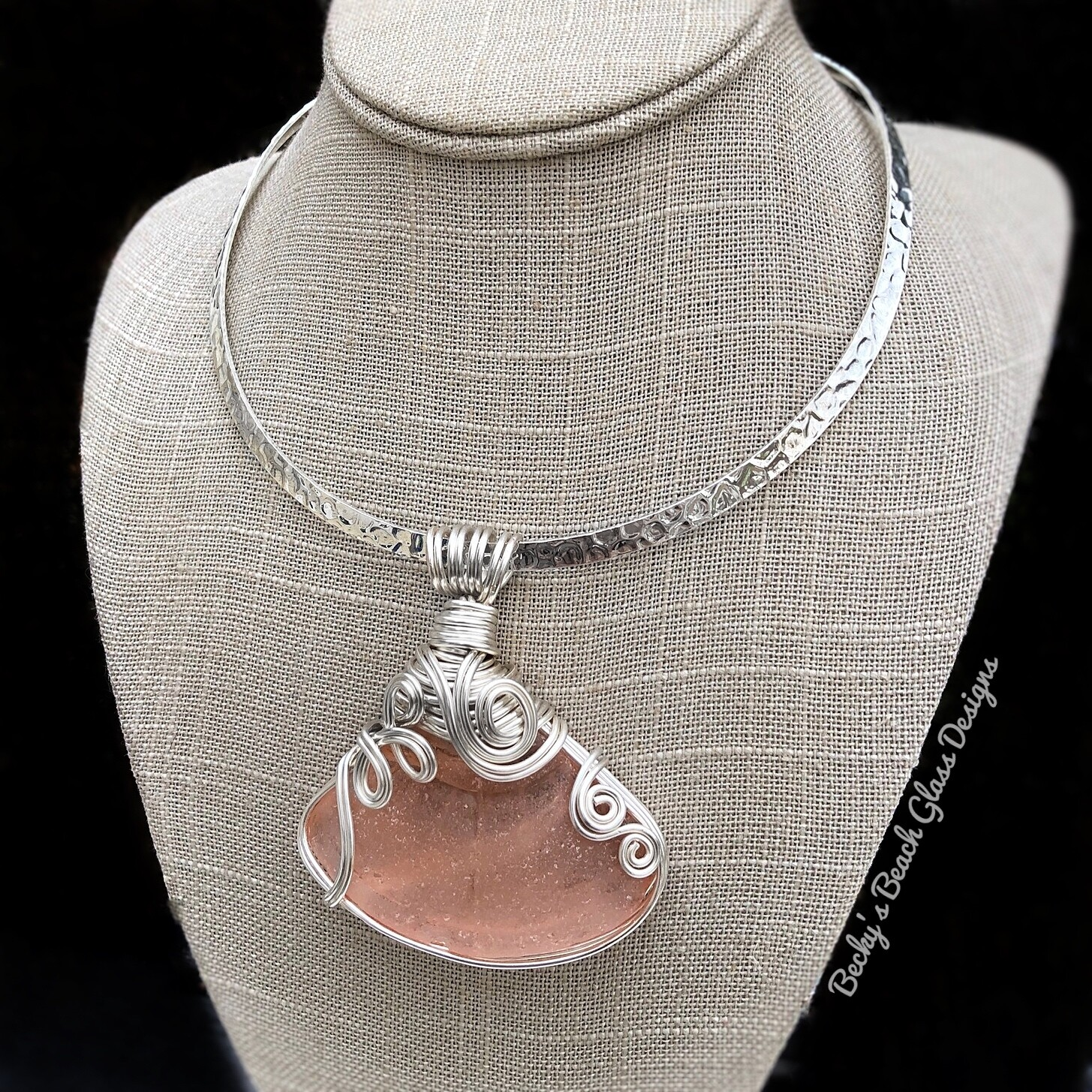 Dramatic Pink Fan Sea Glass Necklace