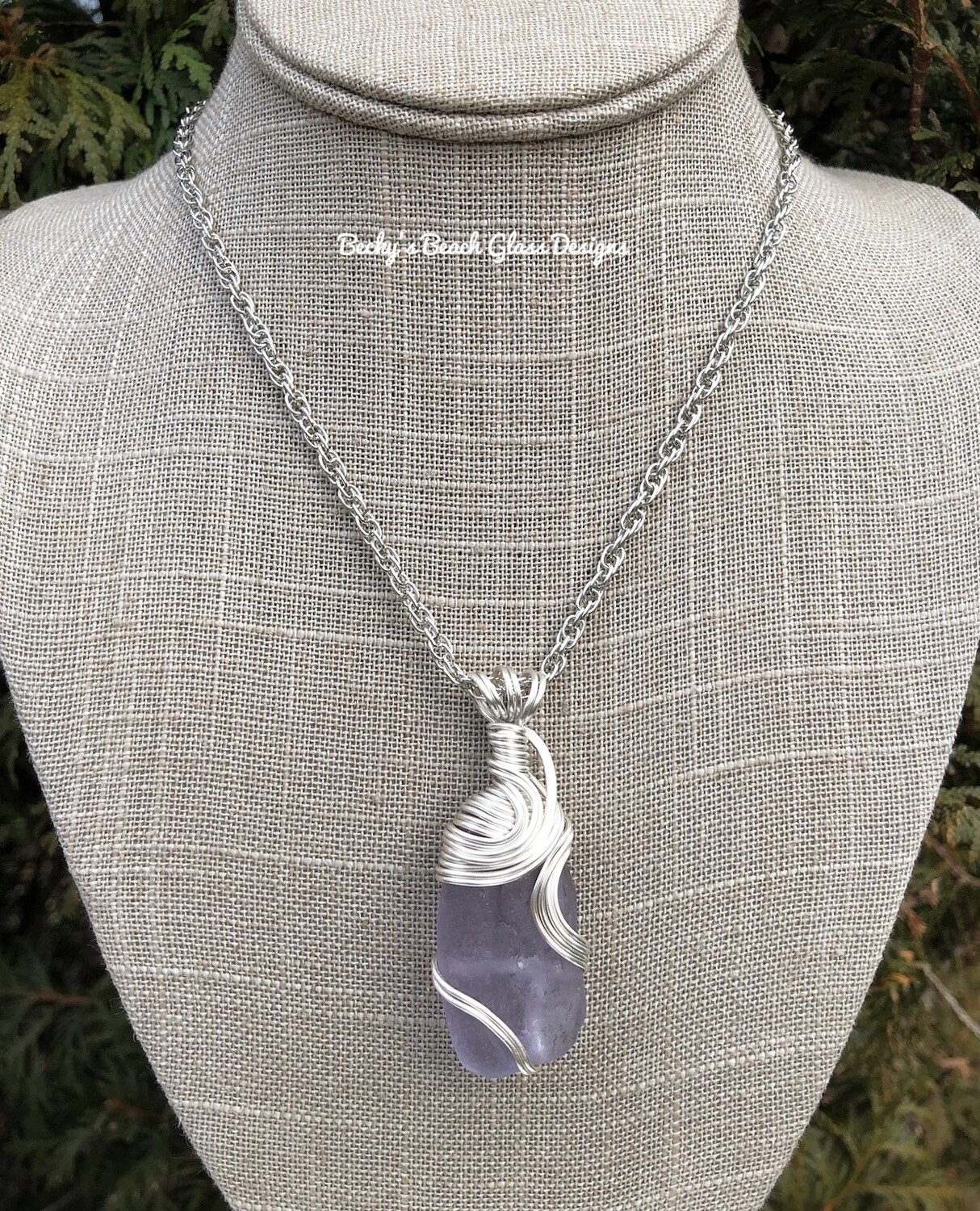 Purple Neodymium Sea Glass Necklace W/bonfire melt