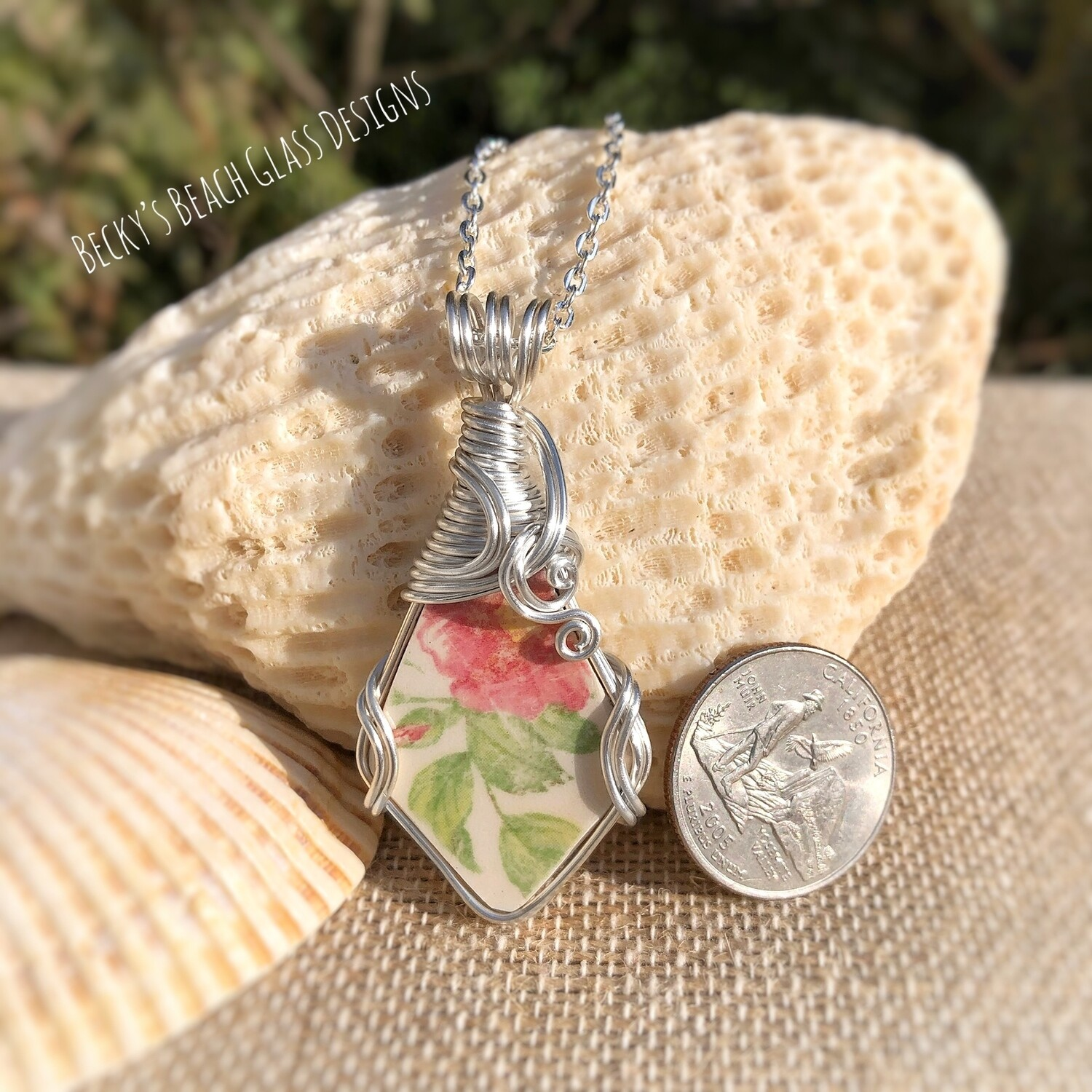 Colorful Floral Pottery Necklace