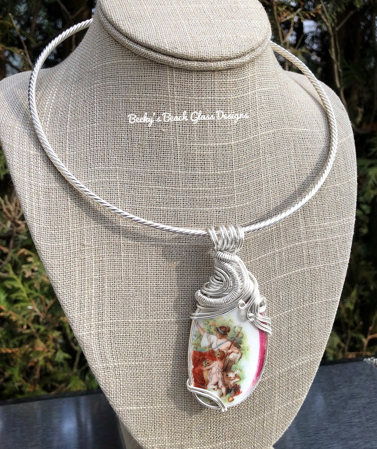 """Mother & Child"" English Sea Pottery Necklace"