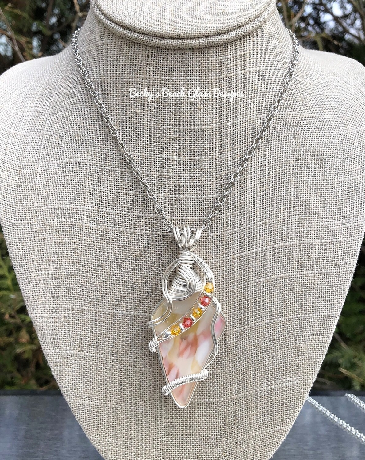 Multicolored English Art Glass Necklace
