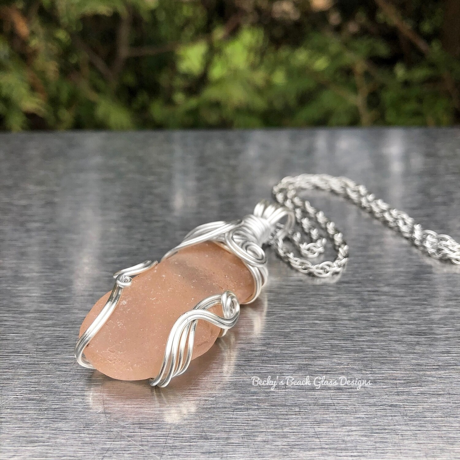 Russian Pinky-Peach  Sea Glass Necklace