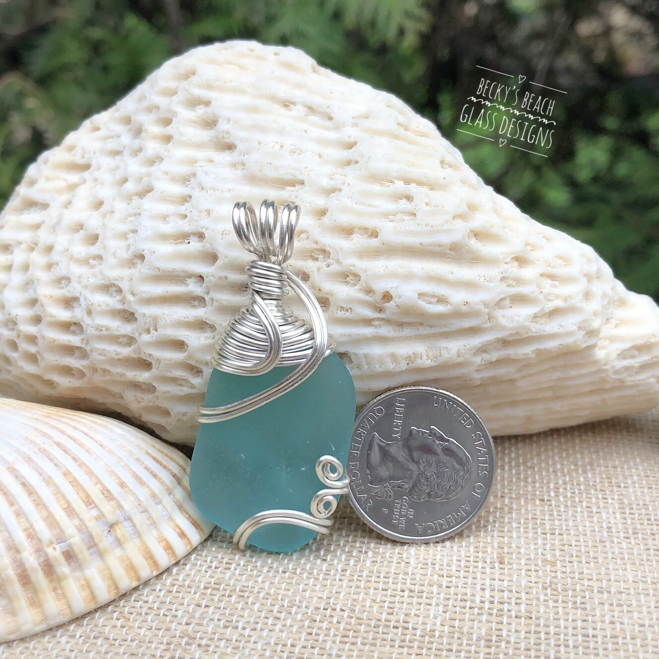 Aqua Sea Glass Pendant