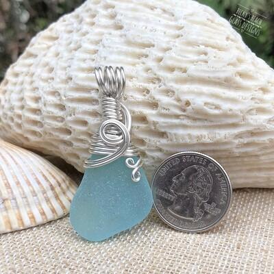 Aqua Sea Glass Pendant