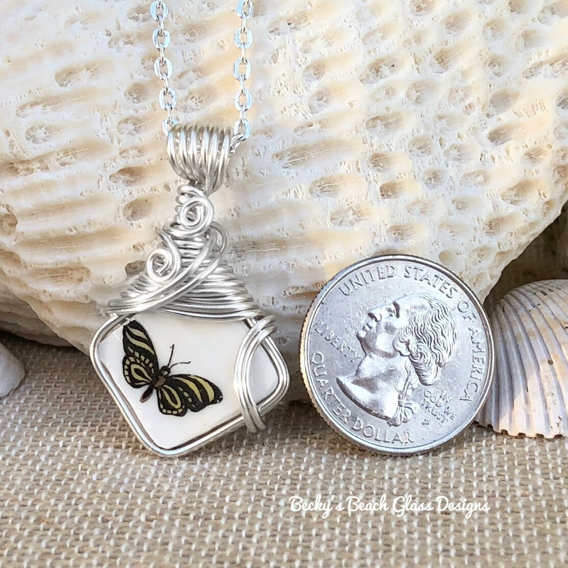 Butterfly Pottery Necklace