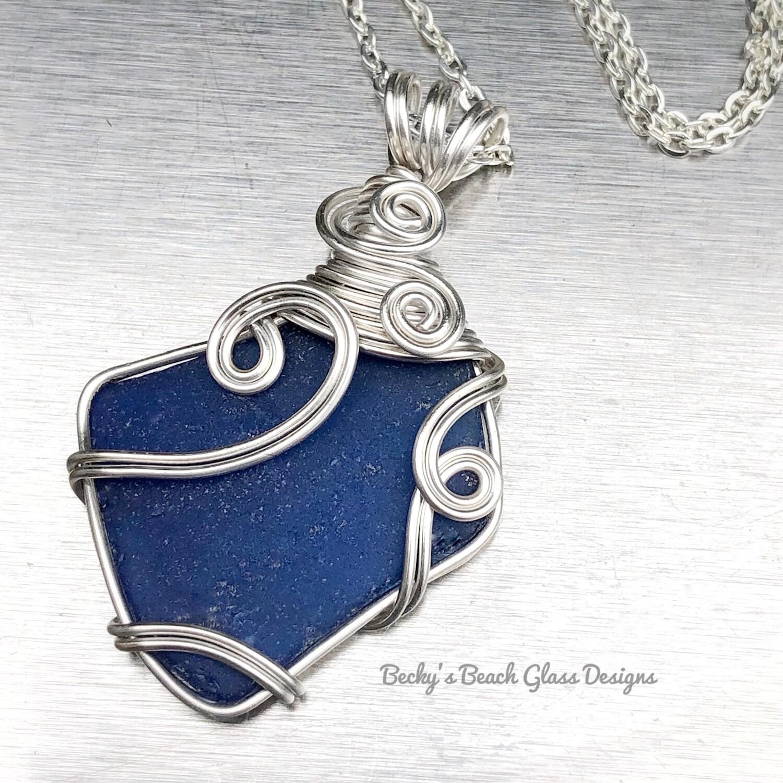 Cobalt Blue Sea Glass Necklace