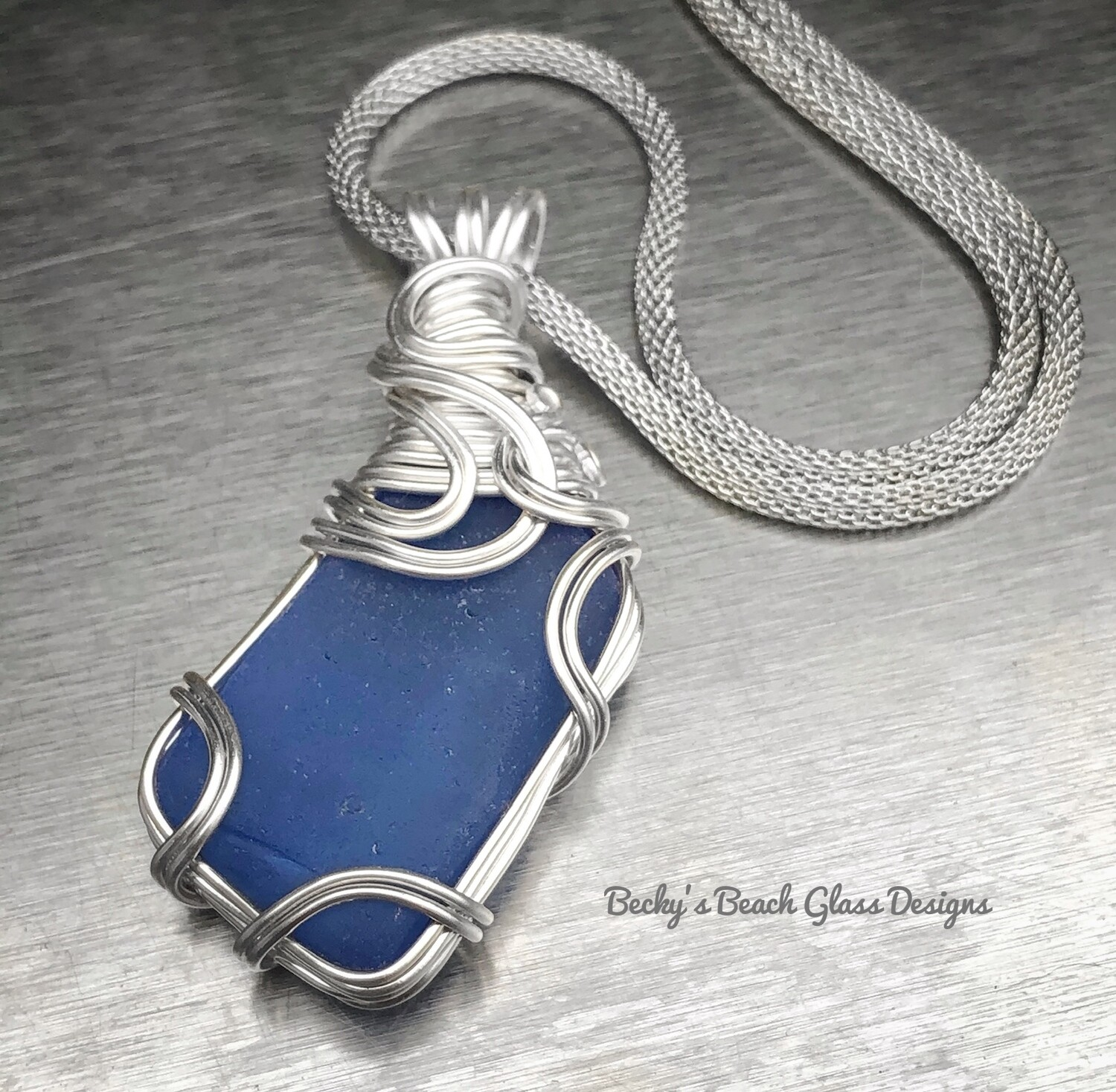 Beautiful Blue Sea Glass Necklace